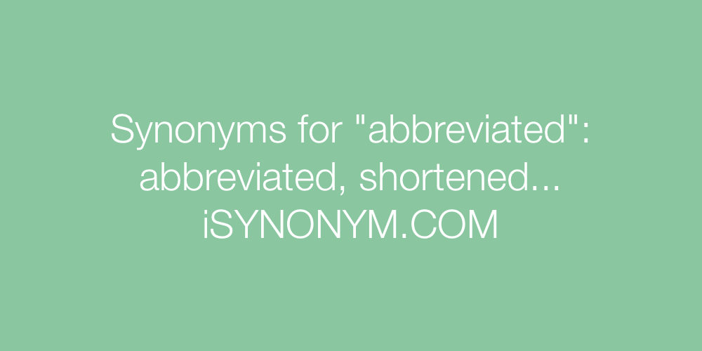 Synonyms abbreviated