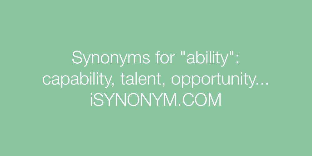 Synonyms ability