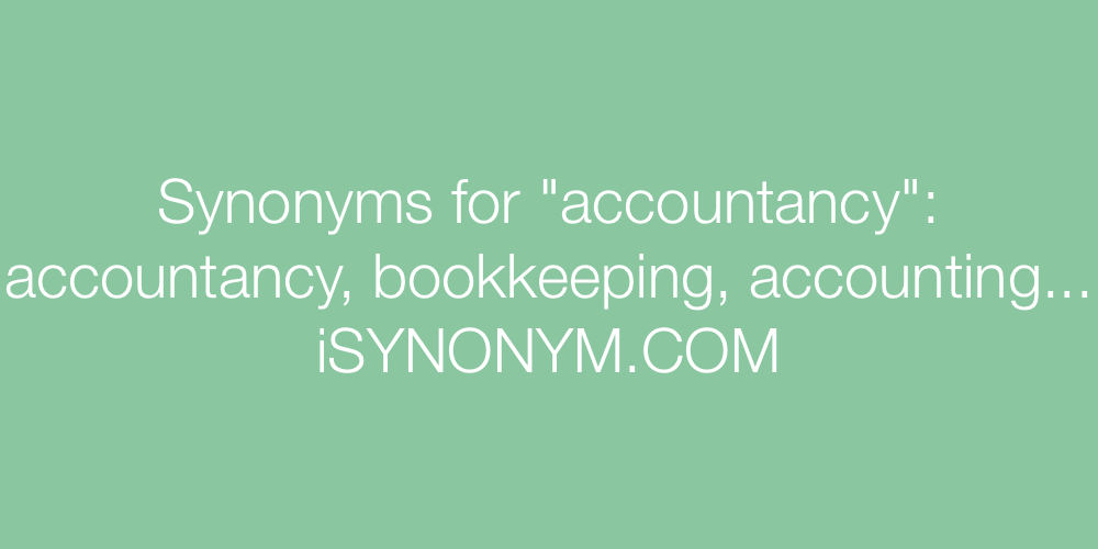 Synonyms accountancy