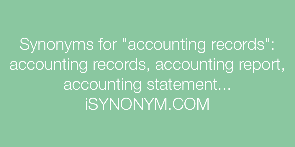 Synonyms accounting records