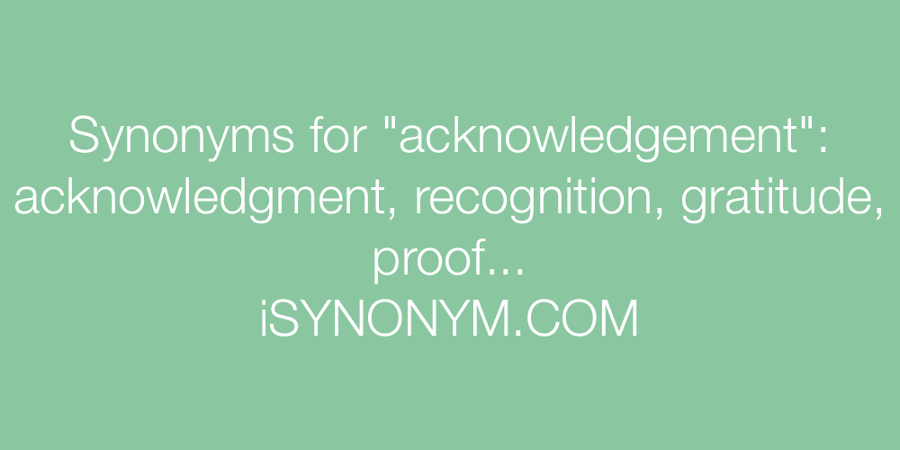Synonyms acknowledgement