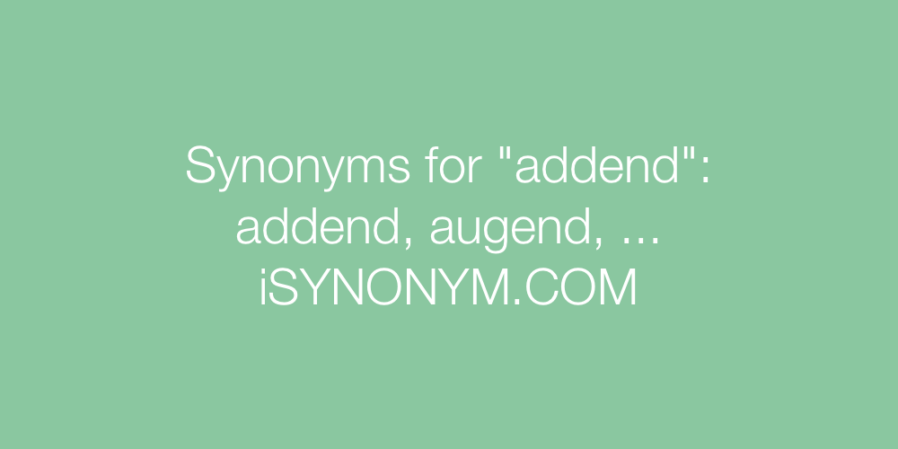 Synonyms addend