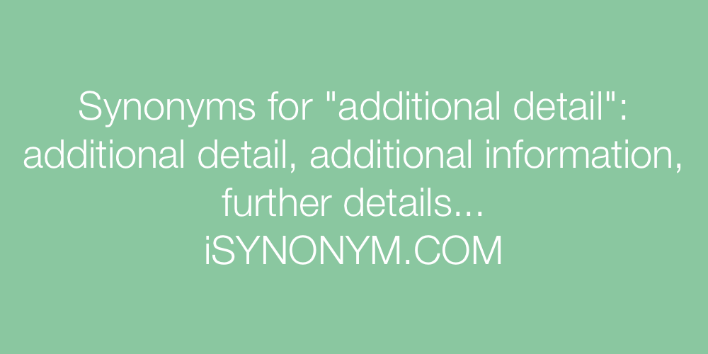 Synonyms additional detail