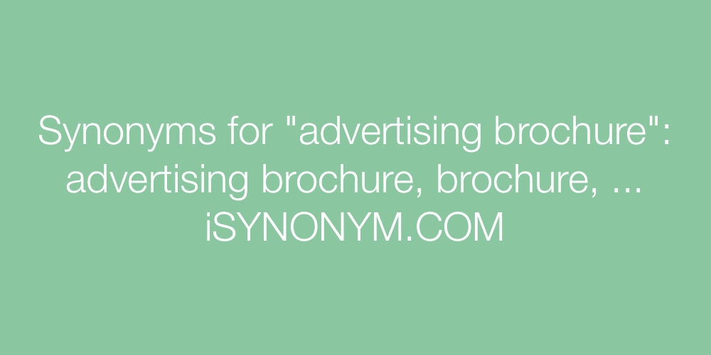 Synonyms advertising brochure