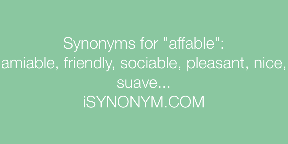 Synonyms affable