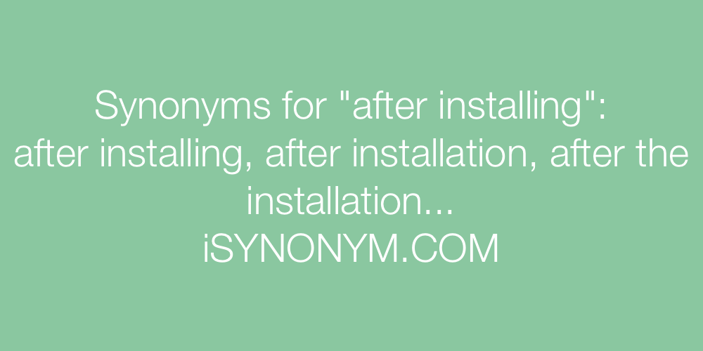 Synonyms after installing
