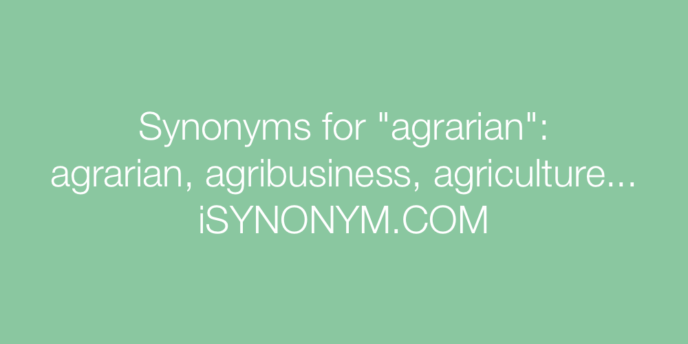 Synonyms agrarian