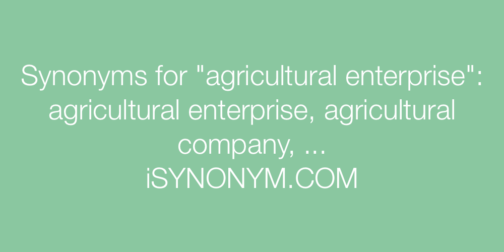 Synonyms agricultural enterprise