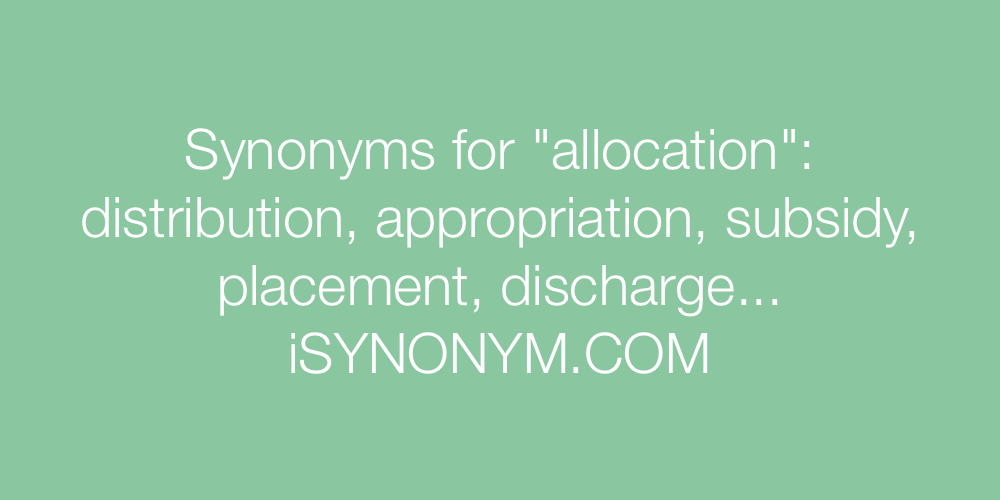 Synonyms allocation