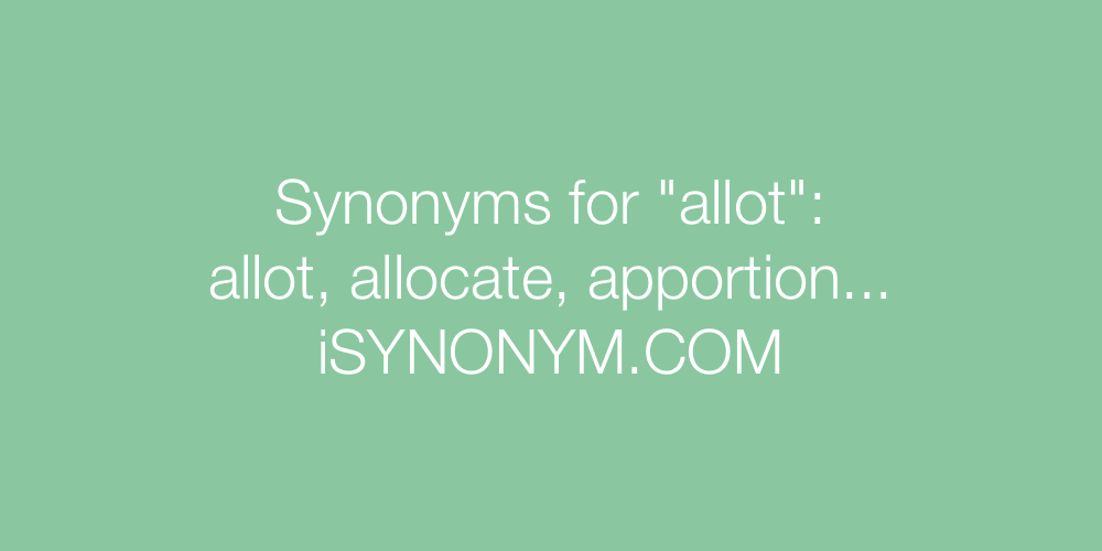 Synonyms allot