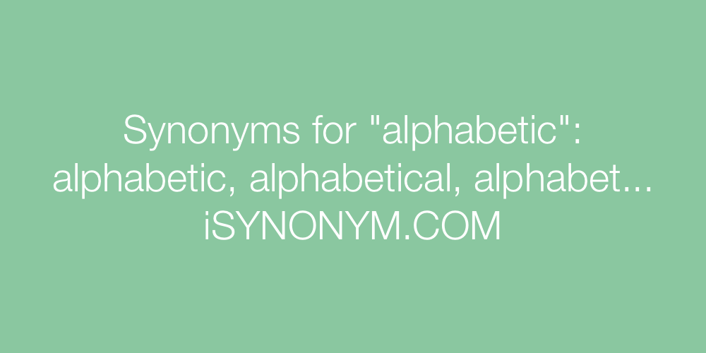 Synonyms alphabetic