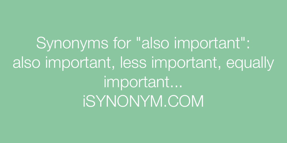 Synonyms also important