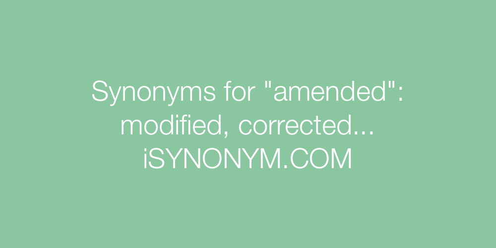 Synonyms amended
