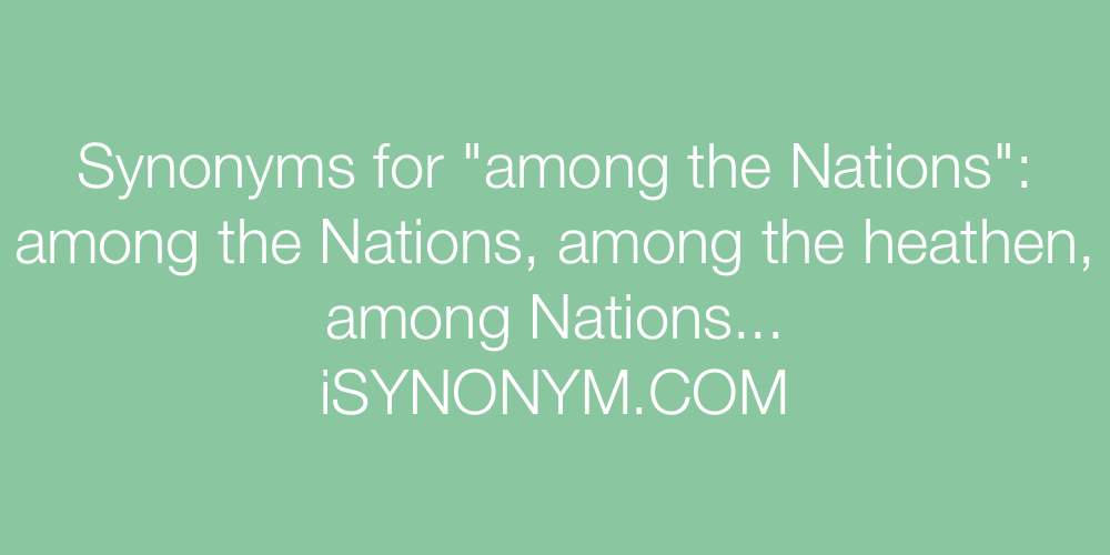 Synonyms among the Nations