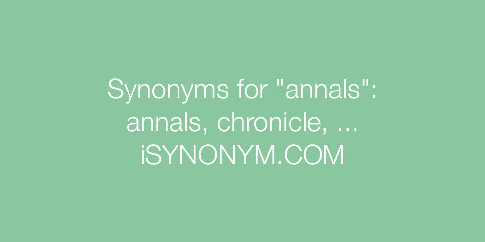 Synonyms annals
