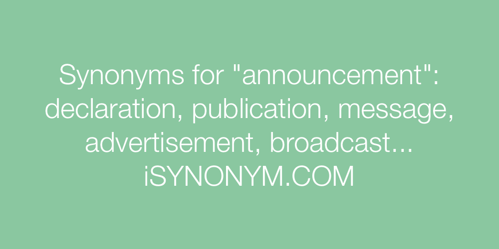 Synonyms announcement