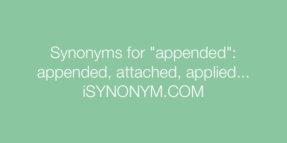 Synonyms appended