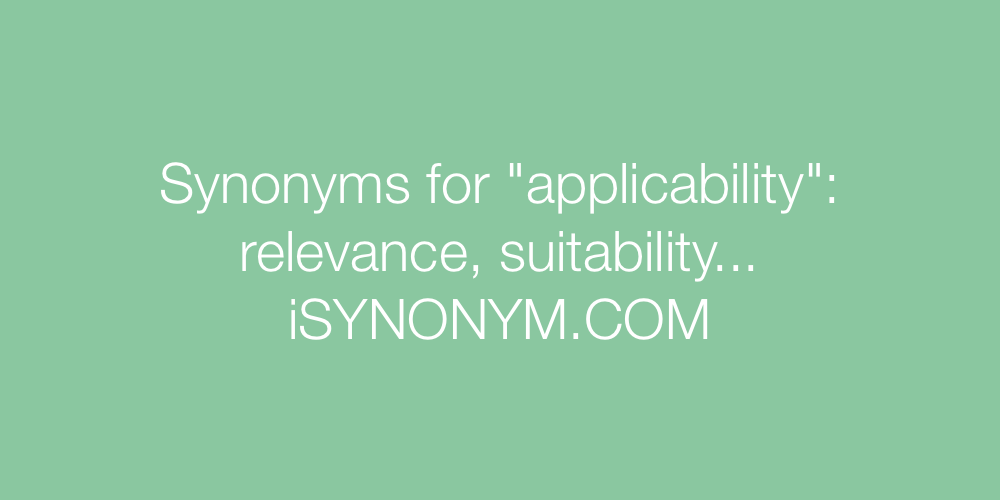 Synonyms applicability
