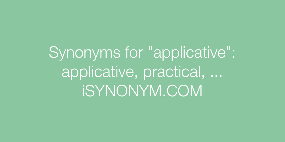 Synonyms applicative