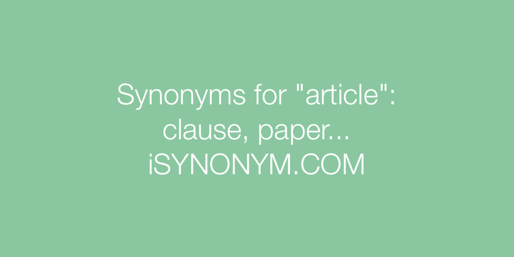 Synonyms article