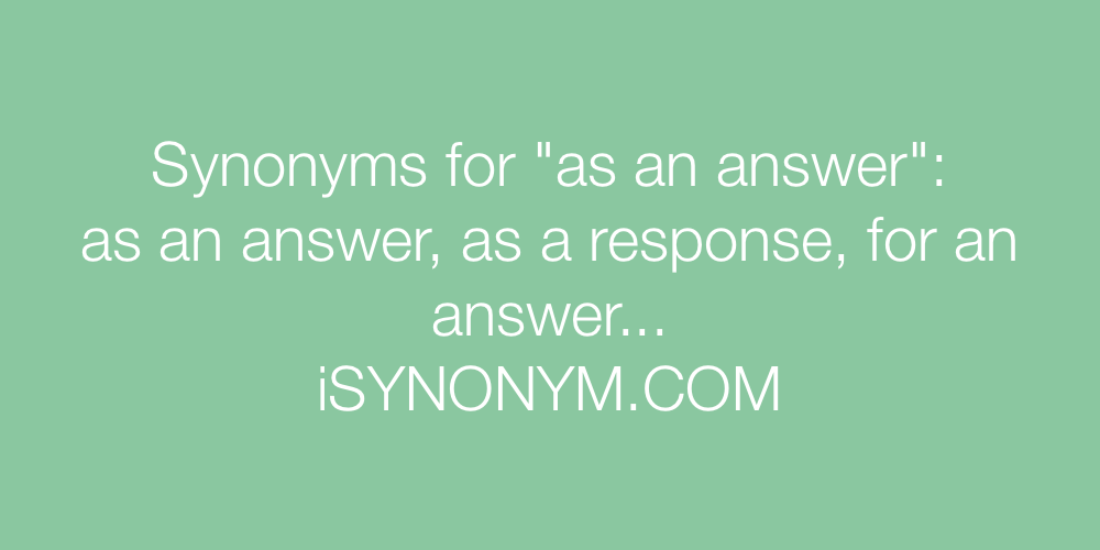 Synonyms as an answer