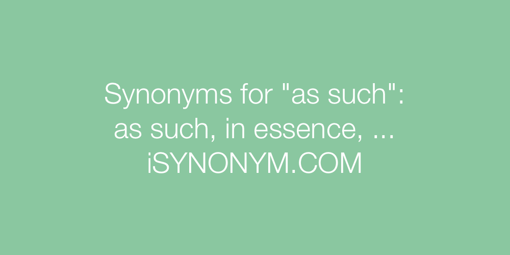 Synonyms as such