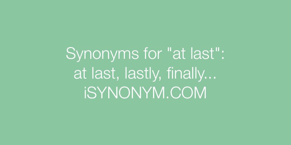 Synonyms at last