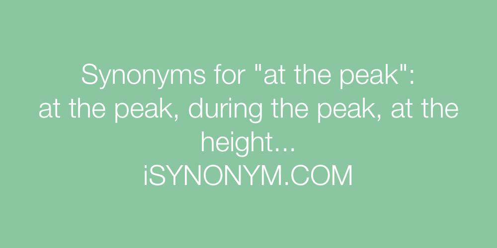 Synonyms at the peak