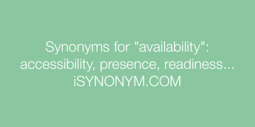 Synonyms availability