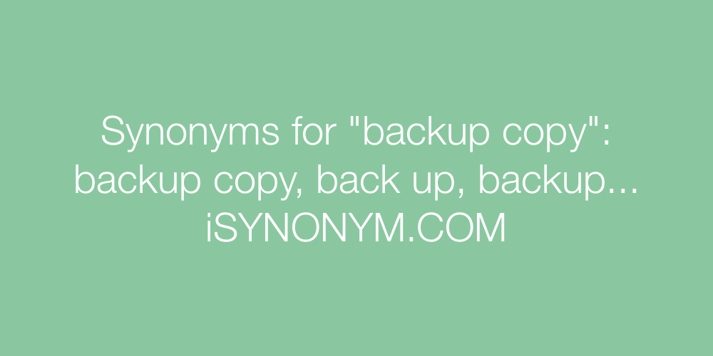 Synonyms backup copy
