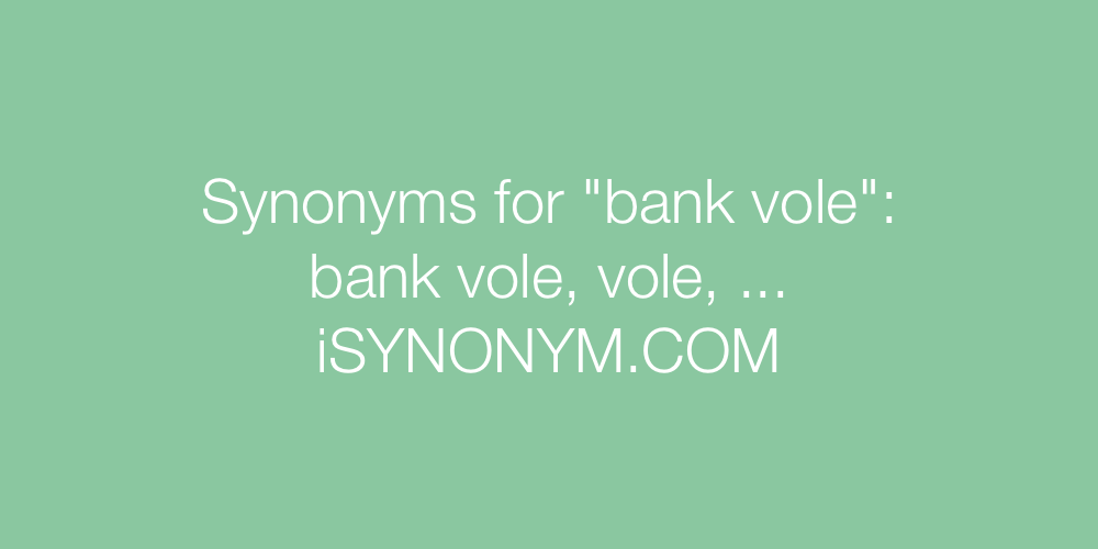 Synonyms bank vole