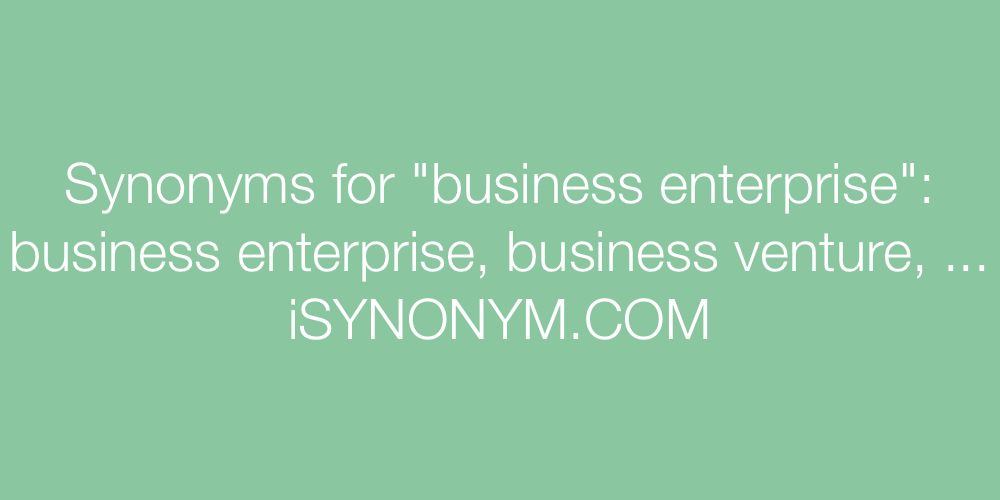 Synonyms business enterprise
