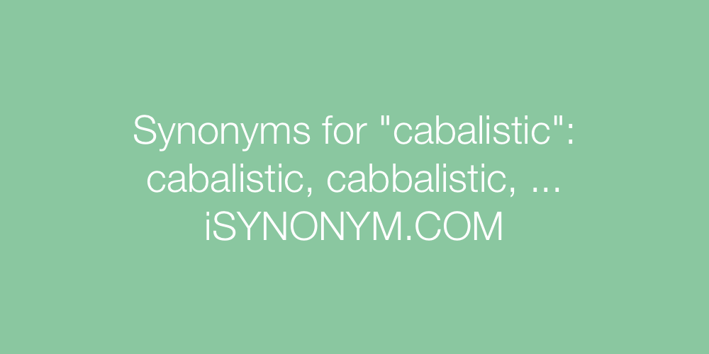 Synonyms cabalistic