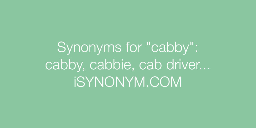 Synonyms cabby