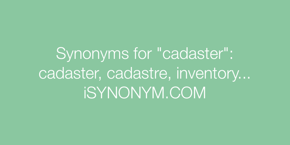 Synonyms cadaster
