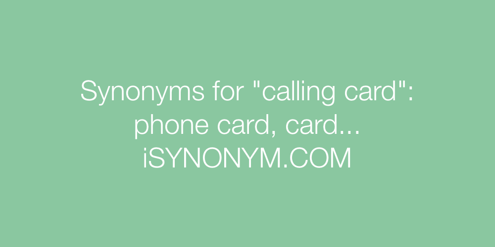 Synonyms calling card