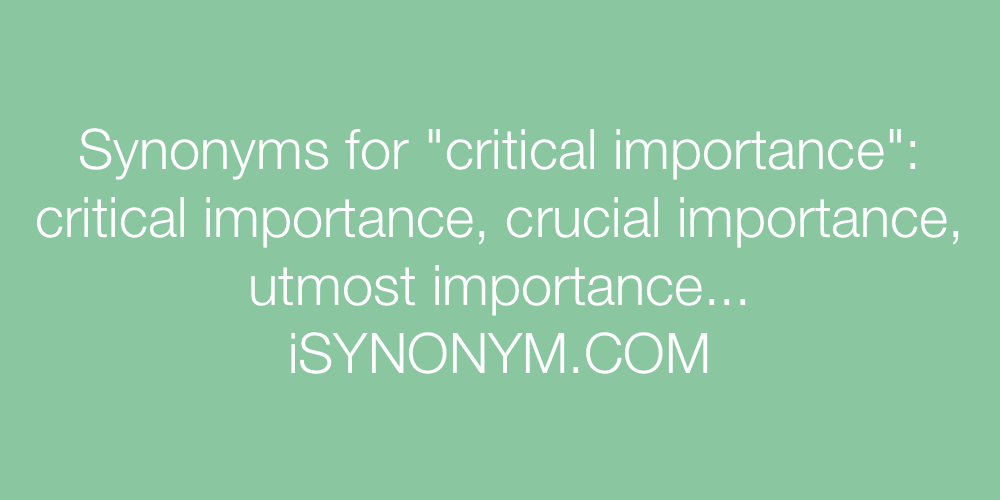 Synonyms critical importance