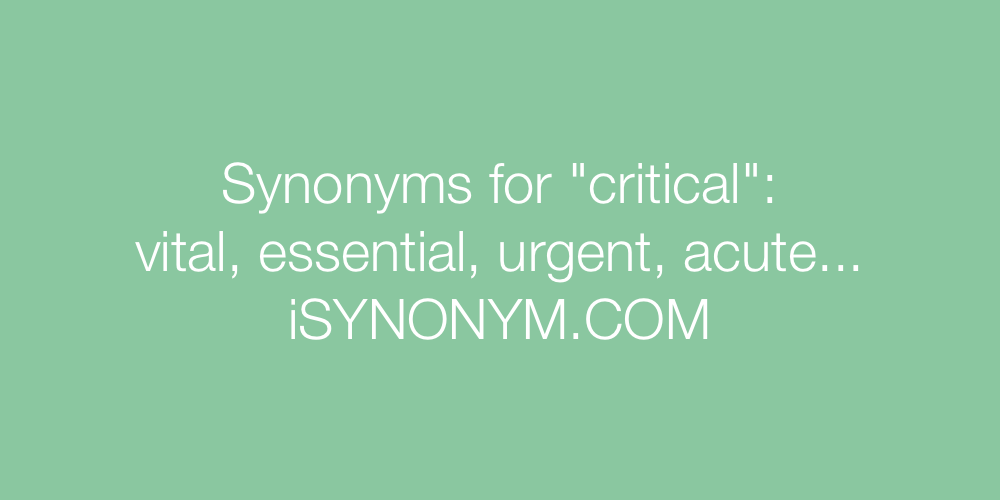 Synonyms critical
