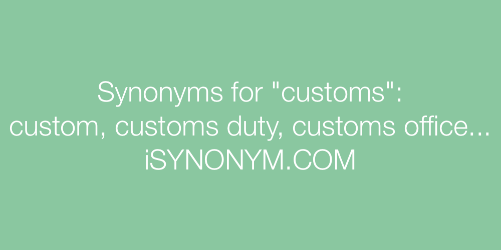 Synonyms customs