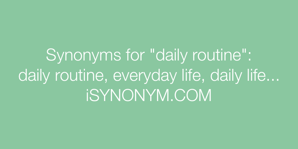 Synonyms daily routine
