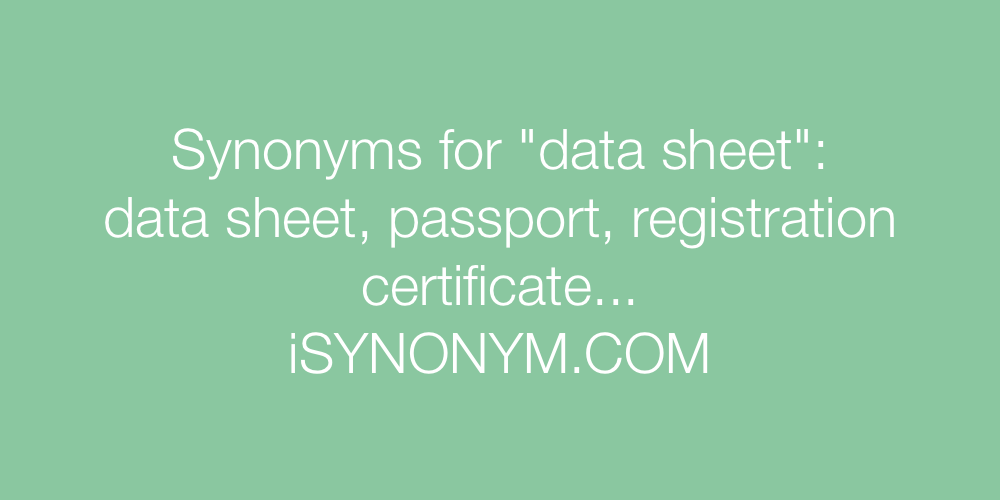 Synonyms data sheet