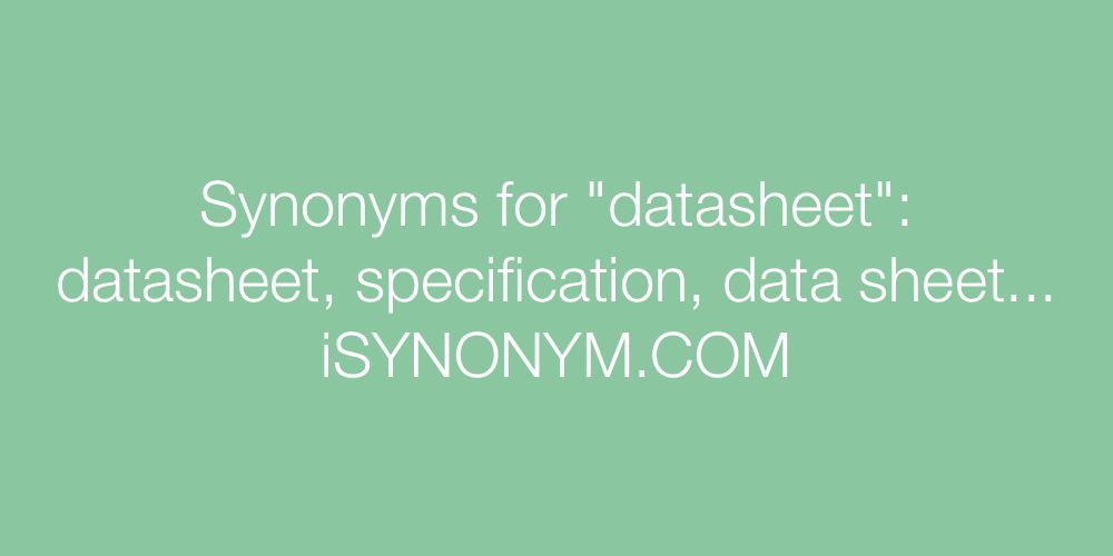 Synonyms datasheet