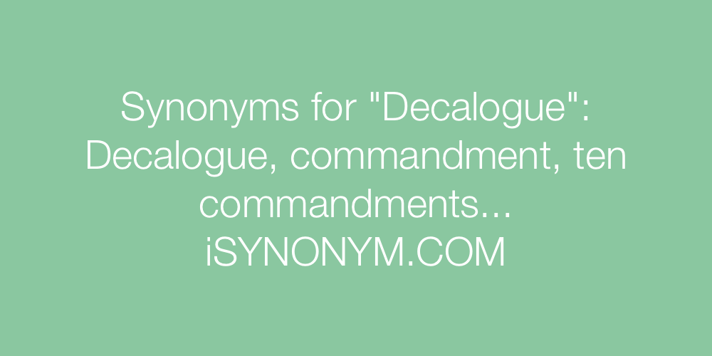 Synonyms Decalogue