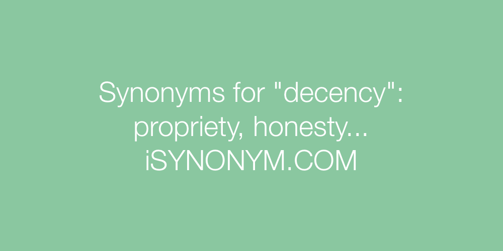 Synonyms decency