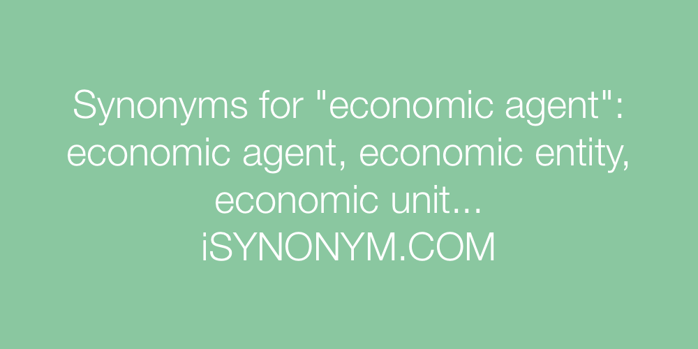 Synonyms economic agent