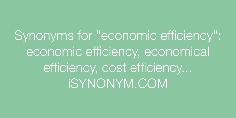 Synonyms economic efficiency