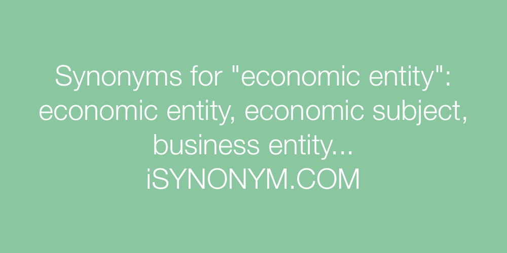 Synonyms economic entity