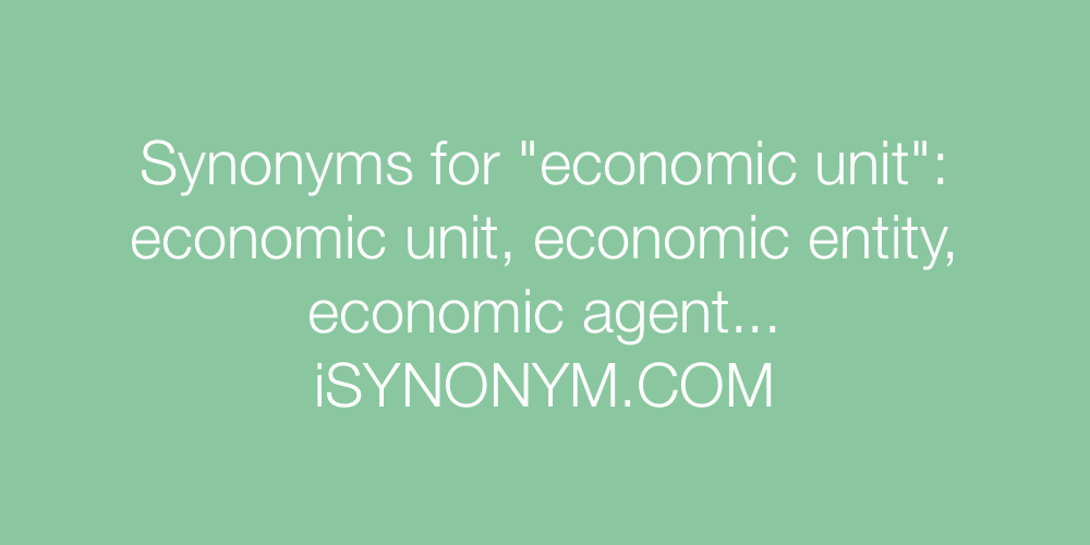 Synonyms economic unit