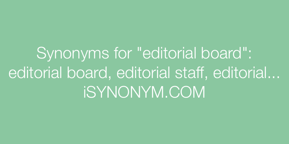 Synonyms editorial board