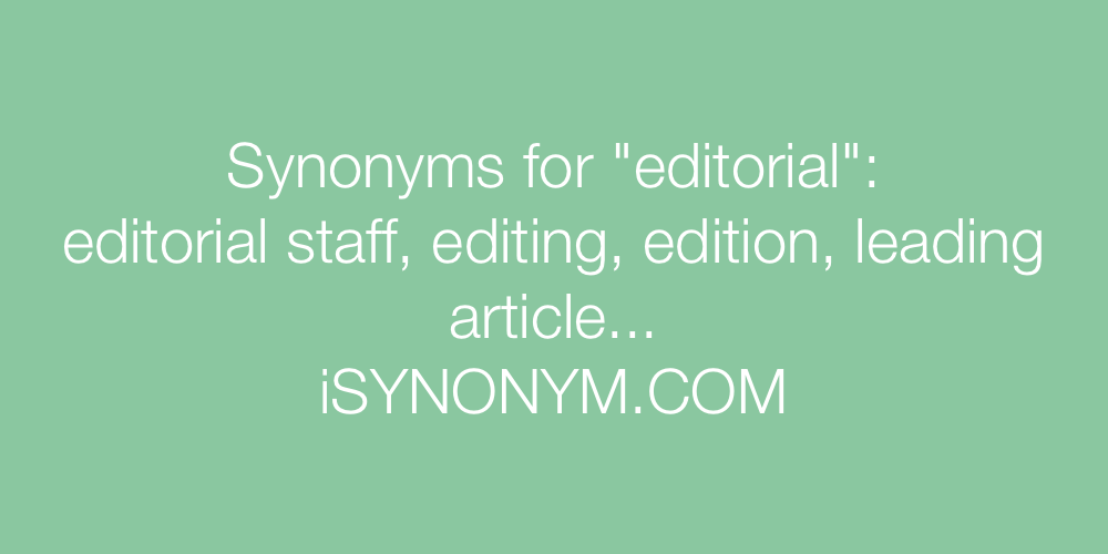 Synonyms editorial